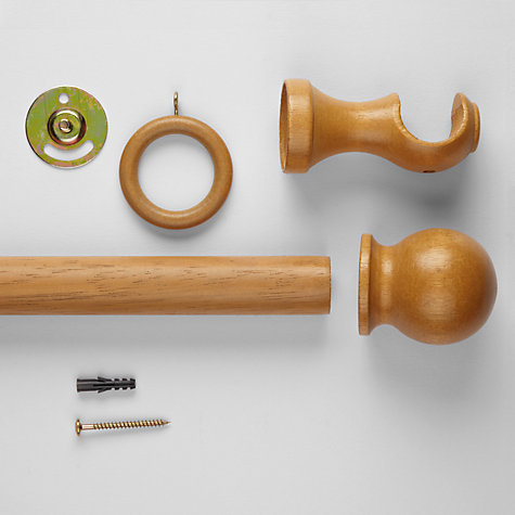 Buy John Lewis The Basics Curtain Pole Kit, Oak Effect Finish, Dia.28mm Online at johnlewis.com