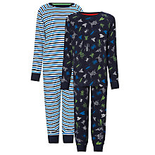 Buy John Lewis Boy Bugs Pyjamas, Pack of 2, Navy/White Online at johnlewis.com