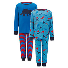 Buy John Lewis Boy Dinosaur Pyjamas, Pack of 2, Blue Online at johnlewis.com