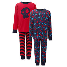 Buy John Lewis Boy Skull and Crossbones Pyjamas, Pack of 2, Red/Navy Online at johnlewis.com