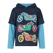 Buy John Lewis Boy Motorbike Hooded Long Sleeved T-Shirt, Blue Online at johnlewis.com