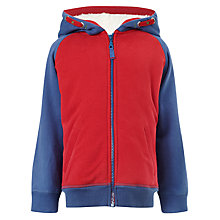 Buy John Lewis Boy Block Zip-Through Hoodie, Navy/Red Online at johnlewis.com