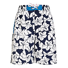 Buy John Lewis Boy Hibiscus Board Shorts, Navy/White Online at johnlewis.com