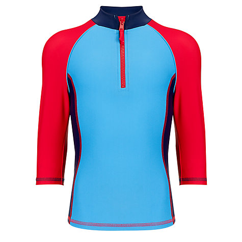 Buy John Lewis Boy Panelled Rash Vest, Blue/Red Online at johnlewis.com