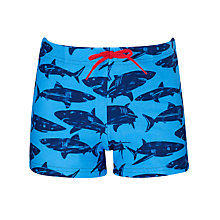 Buy John Lewis Boy Shark Swimming Trunks, Blue Online at johnlewis.com