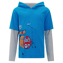 Buy John Lewis Boy Rock On Hooded Top, Blue Online at johnlewis.com