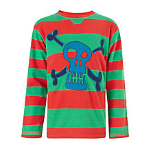 Buy John Lewis Boy Skull and Crossbones Striped Long Sleeved T-Shirt, Red/Green Online at johnlewis.com