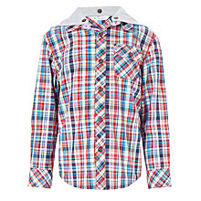 Buy John Lewis Boy Hooded Checked Long Sleeved Shirt, Multi Online at johnlewis.com