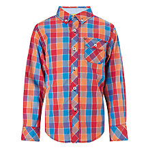Buy John Lewis Boy Multicheck Long Sleeved Shirt, Orange/Red/Blue Online at johnlewis.com