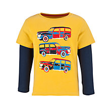 Buy John Lewis Boy Station Wagon Long Sleeved T-Shirt, Yellow/Blue Online at johnlewis.com