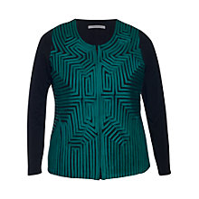 Buy Chesca Striped Zip Cardigan, Teal/Black Online at johnlewis.com