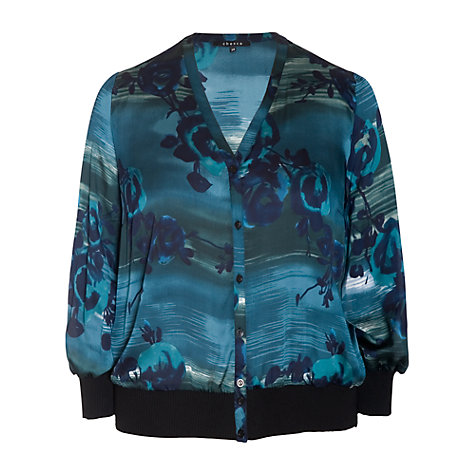 Buy Chesca Floral Print Blouse, Blue Online at johnlewis.com
