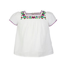 Buy John Lewis Girl Embroidered Top, White Online at johnlewis.com