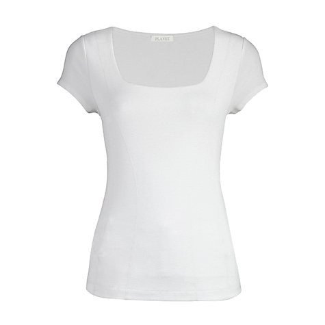Buy Planet Capped Sleeve Double Front Jersey Top, White Online at johnlewis.com