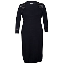 Buy Chesca Stud Trim Knitted Dress, Black Online at johnlewis.com