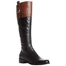 Buy Dune Tilbury Leather Two Tone Buckle Detail Riding Boots, Black Online at johnlewis.com