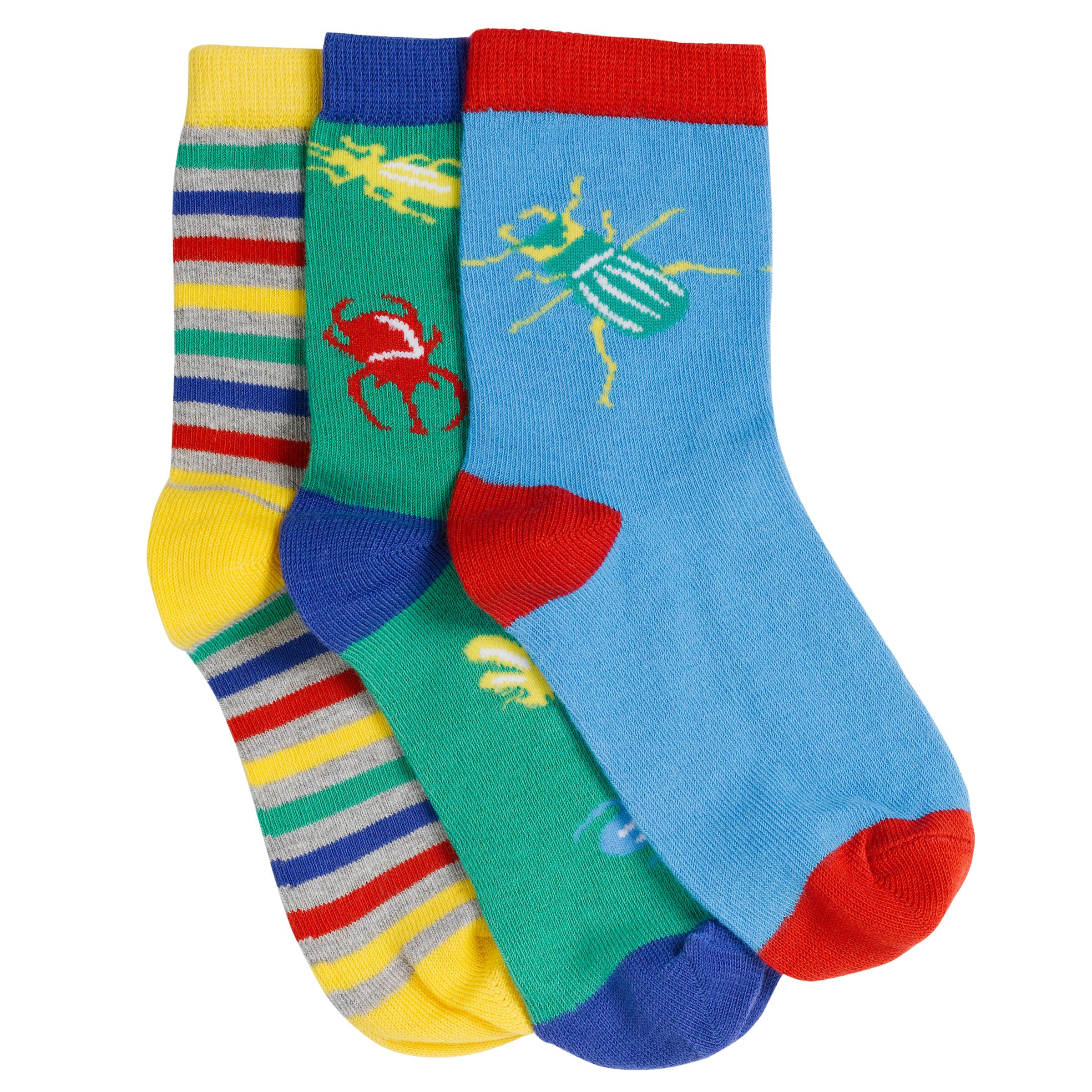 John Lewis Boy Bug Socks, Pack of 3, Multi
