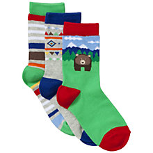 Buy John Lewis Boy Bear Socks, Pack of 3, Multi Online at johnlewis.com