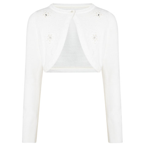 Buy John Lewis Girl Long Sleeved Beaded Cardigan, White Online at johnlewis.com