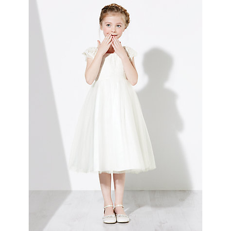 Buy John Lewis Girls' Lace Mesh Bridesmaid Dress, Ivory Online at johnlewis.com