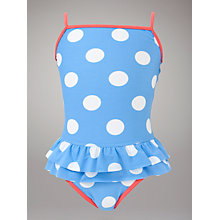 Buy John Lewis Girl Spotted Swimsuit, Blue/White Online at johnlewis.com