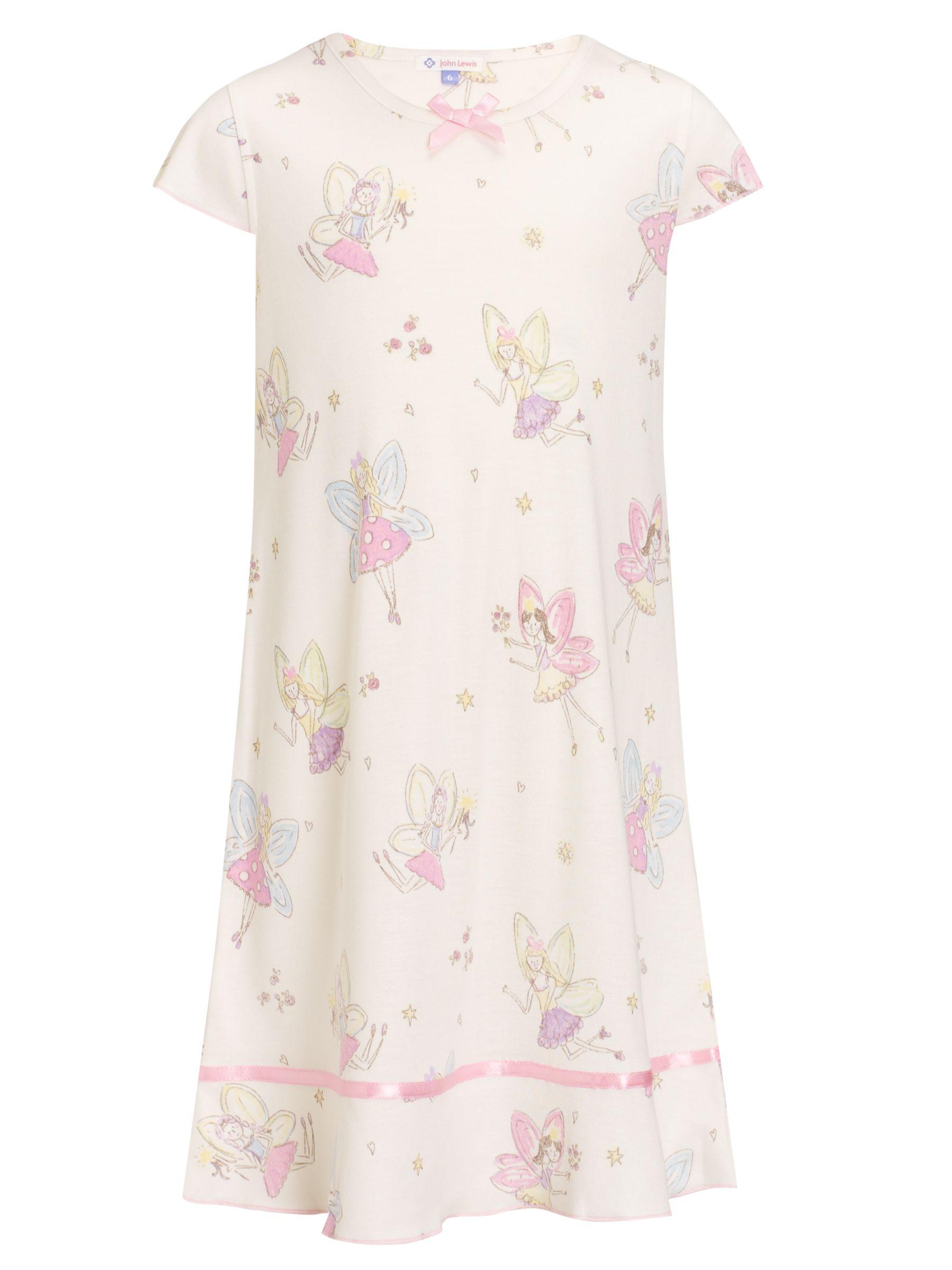 John Lewis Girl Short Sleeved Fairy Nightie, Cream