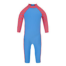 Buy John Lewis Girl Spotted Sun Pro Suit, Blue/Red Online at johnlewis.com