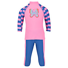 Buy John Lewis Girl Butterfly Sun Pro Two Piece, Pink/Blue Online at johnlewis.com