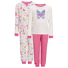 Buy John Lewis Girl Butterfly Pyjamas, Pack of 2, Pink Online at johnlewis.com