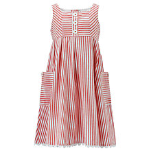 Buy John Lewis Girl Striped Woven Dress, Red/White Online at johnlewis.com
