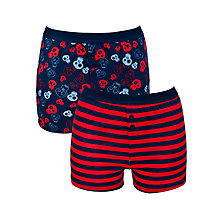 Buy John Lewis Boy Skull and Stripe Boxer Shorts, Pack of 2, Multi Online at johnlewis.com