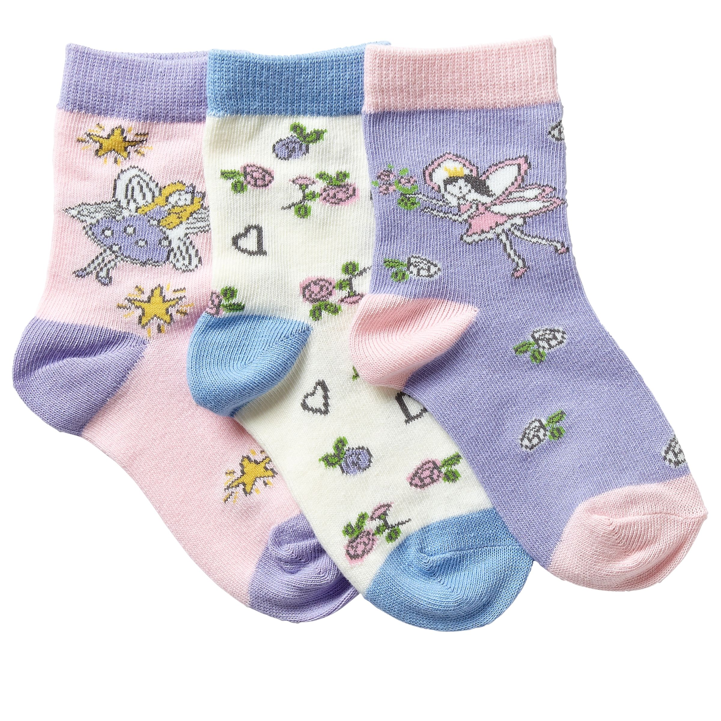 John Lewis Girl Fairy Socks, Pack of 3