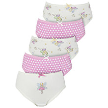 Buy John Lewis Girl Fairy Briefs, Pack of 5, Pink Online at johnlewis.com