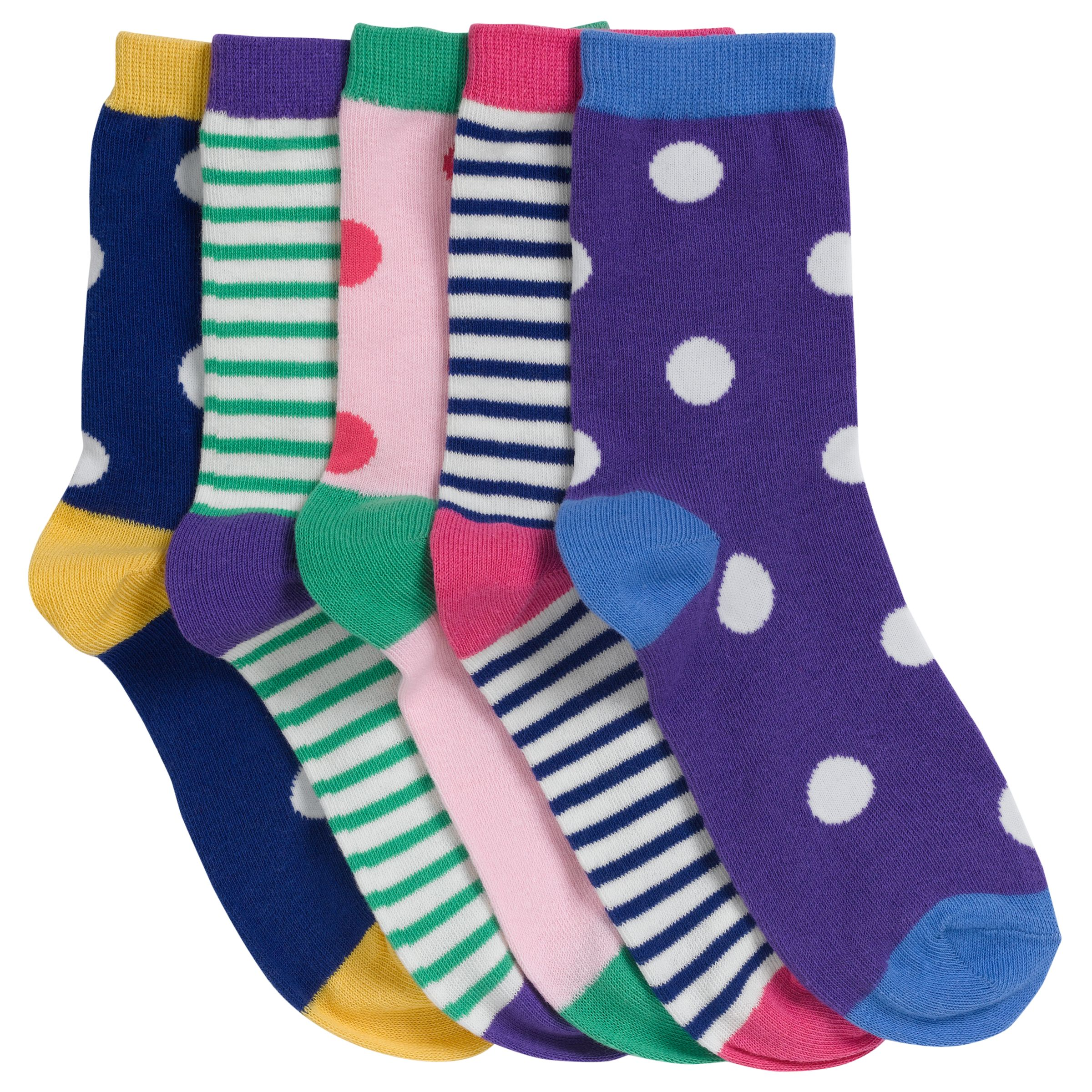 John Lewis Girl Bold Stripe and Spot Socks, Pack of 5, Multi