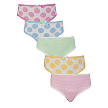Buy John Lewis Girl Spotted and Striped Briefs, Pack of 5, Pastel Online at johnlewis.com