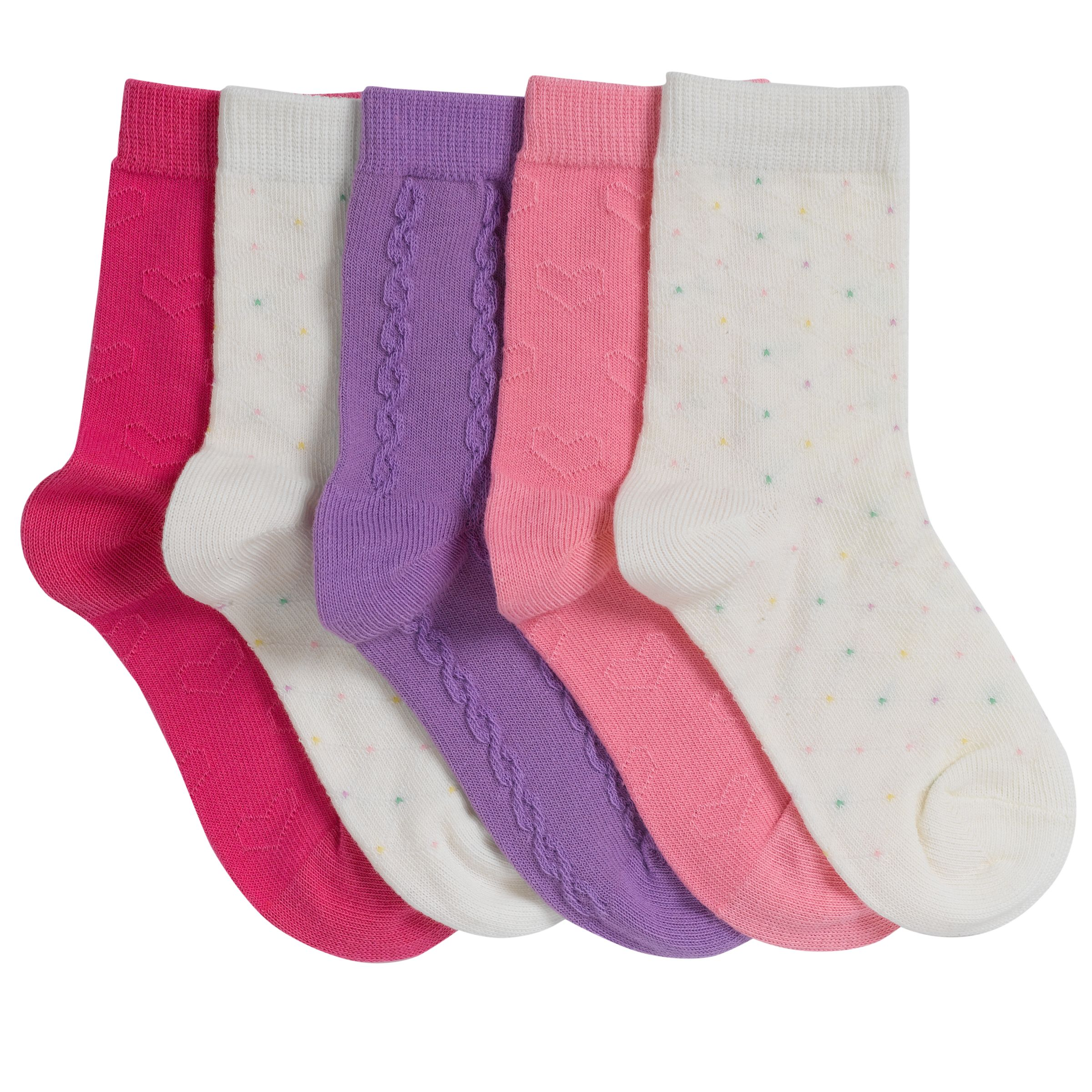 John Lewis Girl Textured Socks, Pack of 5, Pastels
