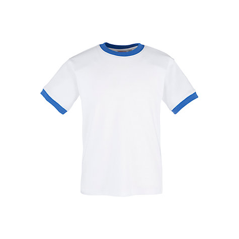 Buy School Unisex Gym T-Shirt with Trim, White/Blue Online at johnlewis.com