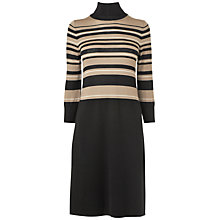 Buy Jaeger Striped Roll Neck Dress, Black Online at johnlewis.com