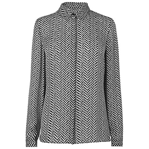 Buy Jaeger Wavy Dot Print Blouse, Black Online at johnlewis.com