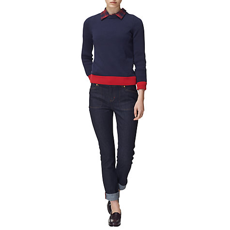 Buy Boutique by Jaeger Heart Ribbed Jumper, Navy Online at johnlewis.com