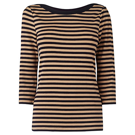 Buy Jaeger Breton Stripe Button Jersey Top, Camel Online at johnlewis.com