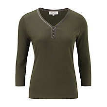 Buy Viyella Trim Jersey Top, Khaki Online at johnlewis.com