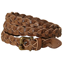 Buy White Stuff Skinny Plaited Belt, Chocolate Online at johnlewis.com