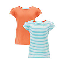Buy John Lewis Girl Plain/Stripe T-Shirts, Pack of 2 Online at johnlewis.com