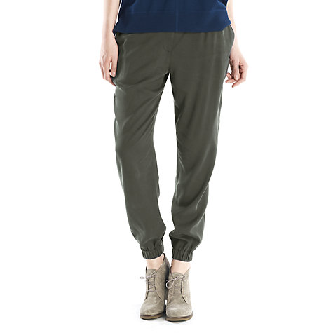 Buy Jigsaw Drapey Twill Trousers, Dark Khaki Online at johnlewis.com