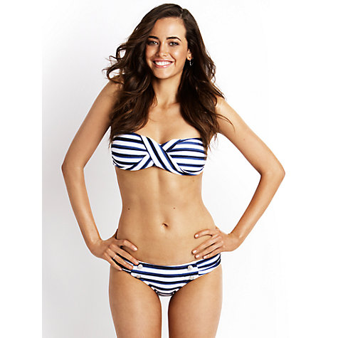 Buy Seafolly Seaview Ruched Bikini Briefs, Indigo/White Online at johnlewis.com