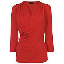 Buy Jaeger Drape 3/4 Sleeve Top, Red Online at johnlewis.com