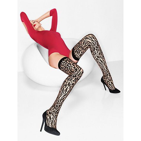 Buy Wolford Cheetah Stayup Holdups, Black Online at johnlewis.com