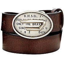 Buy Diesel Bskei Leather Belt, Dark Brown Online at johnlewis.com