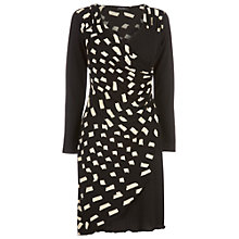 Buy James Lakeland Print Ruched Dress, Black/Cream Online at johnlewis.com